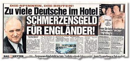 DIE SPINNEN, DIE BRITEN! Zu viele Deutsche im Hotel. SCHMERZENSGELD FÜR ENGLÄNDER