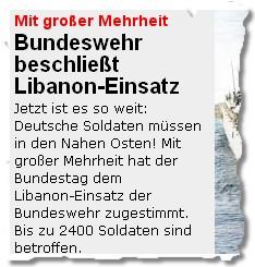 Bundeswehr beschließt Libanon-Einsatz