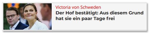 Victoria von Schweden - Der Hof bestätigt: Aus diesem Grund hat sie ein paar Tage frei