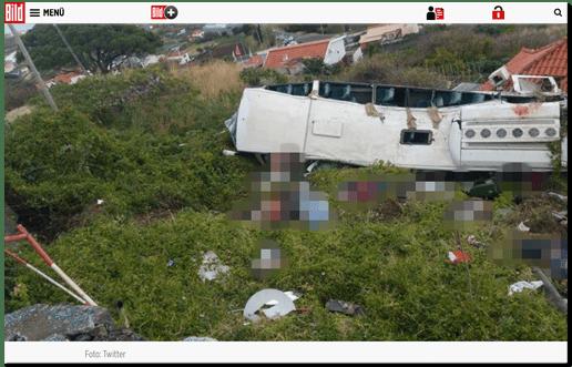 Screenshot Bild.de - Ein Foto vom verunglückten Reisebus, davor liegen Menschen, die offenbar nicht mehr leben - Bild.de hat da Foto ohne jegliche Unkenntichmachung veröffentlicht