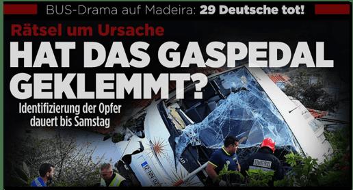 Screenshot Bild.de - Bus-Drama auf Madeira: 29 Deutsche tot! Rätsel um Ursache - Hat das Gaspedal geklemmt? Identifizierung der Opfer dauert bis Samstag