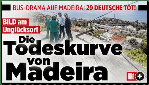 Screenshot Bild.de - Bild am Unglücksort - Die Todeskurve von Madeira