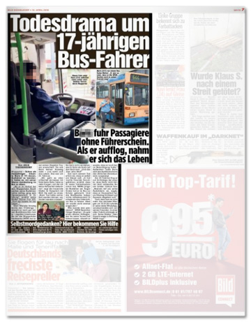 Ausriss Bild-Zeitung - Todesdrama um 17-jährigen Busfahrer - B. fuhr Passagiere ohne Führerschein. Als er aufflog, nahm er sich das Leben