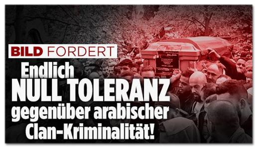 Screenshot Bild.de - Bild fordert - Endlich null Toleranz gegenüber arabischer Clan-Kriminalität!