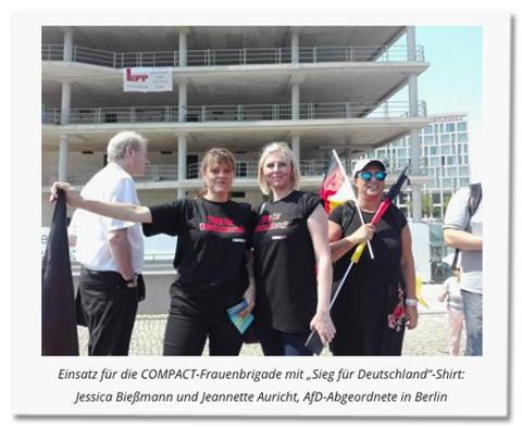 """Screenshot Compact-Online - Einsatz für die COMPACT-Frauenbrigade mit """"Sieg für Deutschland""""-Shirt: Jessica Bießmann und Jeannette Auricht, AfD-Abgeordnete in Berlin"""