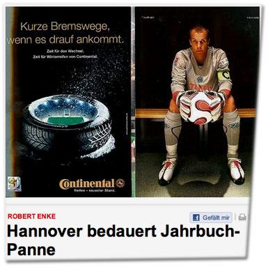 Robert Enke / Hannover bedauert Jahrbuch-Panne