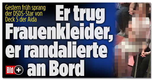 Screenshot Bild.de - Er trug Frauenkleider, er randalierte an Bord
