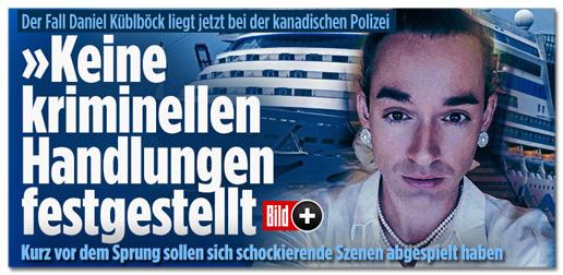 Screenshot Bild.de - Keine Kriminellen Handlungen festgestellt