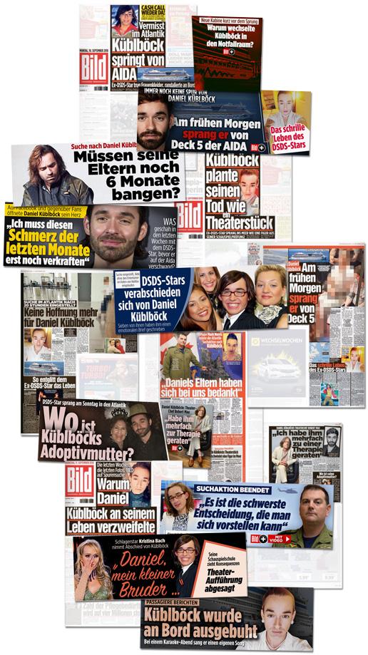 Collage mit den Küblböck-Schlagzeilen von Bild und Bild.de der vergangenen Tage