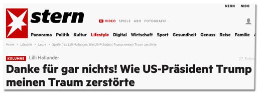 Screenshot Stern.de - Danke für gar nichts! Wie US-Präsident Donald Trump meinen Traum zerstörte