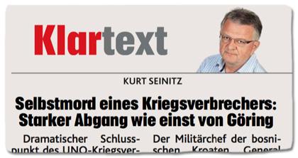 Ausriss Kronen Zeitung - Selbstmord eines Kriegsverbrechers: Starker Abgang wie einst von Göring