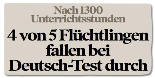 4 von 5 Flüchtlingen fallen bei Deutsch-Test durch