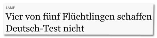 Screenshot FAZ.net - BAMF - Vier von fünf Flüchtlingen schaffen Deutsch-Test nicht