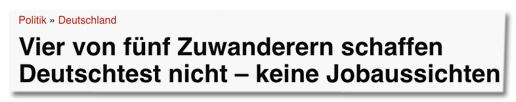 Screenshot Epoch Times - Vier von fünf Zuwanderern schaffen Deutschtest nicht – keine Jobaussichten