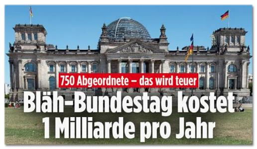 Screenshot Bild.de - Bläh-Bundestag kostet eine Milliarde pro Jahr