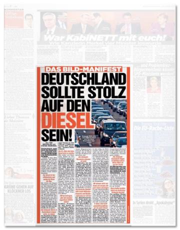 Ausriss Bild-Zeitung - Das Bild-Manifest - Deutschland sollte stolz auf den Diesel sein