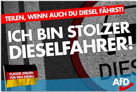 Screenshot AfD-Kampagne - Teilen wenn auch du Diesel fährst - Ich bin stolzer Dieselfahrer