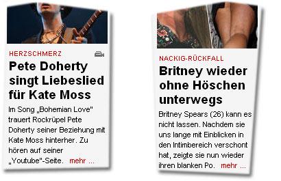 """""""Pete Doherty singt Liebeslied für Kate Moss"""" -- """"Britney wieder ohne Höschen unterwegs"""""""