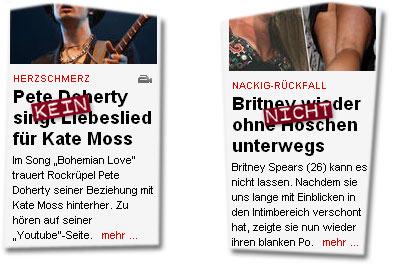 """""""Pete Doherty singt KEIN Liebeslied für Kate Moss"""" -- """"Britney NICHT wieder ohne Höschen unterwegs"""""""