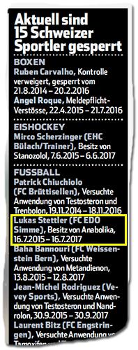 Aus dem Blick-Artikel: 'Aktuell sind 15 Schweizer Sportler gesperrt' - darunter: 'Lukas Stettler (FC EDO Stimme), Besitz von Anabolika, 16.7.2015-16.7.2017'