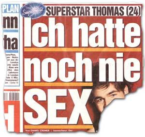 """""""Superstar Thomas (24): Ich hatte noch nie SEX"""""""