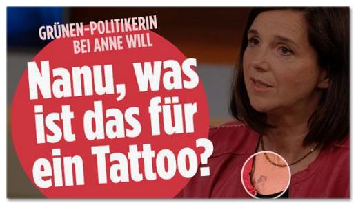 Screenshot Bild.de - Grünen-Politikerin bei Anne Will - Nanu, was ist das für ein Tattoo?
