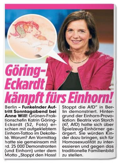 Ausriss Bild-Zeitung - Göring-Eckardt kämpft fürs Einhorn - Hintergrund der Einhorn-Provokation: Beatrix von Storch hatte sich über Spielzeug-Einhörner geärgert. Sie würden Kinder dazu bringen, sich für Homosexualität zu interessieren und gegen das traditionelle Familienbild zu stellen.
