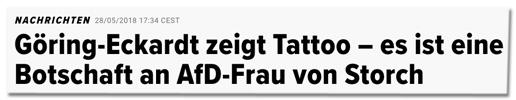 Screenshot Huffington Post - Göring-Eckardt zeigt Tattoo – Es ist eine Botschaft an AfD-Frau von Storch - Es blitzte aus ihrem Dekolleté hervor.