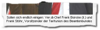 """""""Sollen sich endlich einigen: Ver.di-Chef Frank Bsirske (li.) und Frank Stöhr, Vorsitzender der Tarifunion des Beamtenbundes"""""""