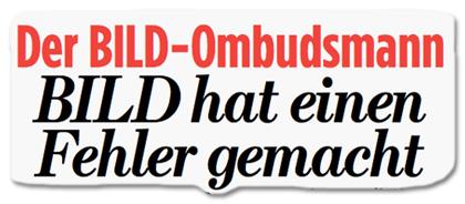 Der BILD-Ombudsmann - BILD hat einen Fehler gemacht