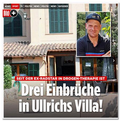 Screenshot Bild.de - Seit der Ex-Radstar in Drogen-Therapie ist - Drei Einbrüche in Ullrichs Villa!