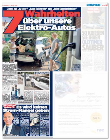 Ausriss Bild-Zeitung - Seite mit zwei Artikeln zum Thema Elektromobilität