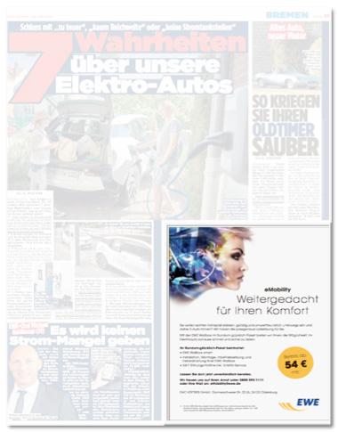 Ausriss Bild-Zeitung - Seite mit einer Anzeige für EWE
