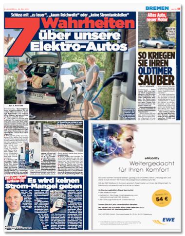 Ausriss Bild-Zeitung - komplette Seite mit den zwei Artikeln zum Thema Elektromobilität und der EWE-Anzeige