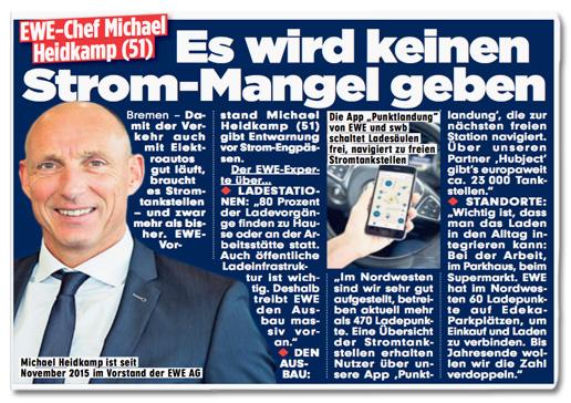 Ausriss Bild-Zeitung - EWE-Chef Michael Heidkamp - Es wird keinen Strommangel geben
