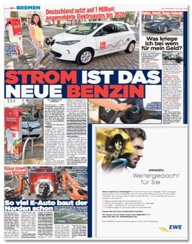 Ausriss Bild-Zeitung - Übersicht der ganzen Seite mit verschiedenen Artikeln zum Thema Elektromobilität und einer EWE-Anzeige