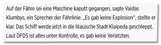 Screenshot Bild.de - Auf er Fähre sei eine Maschine kaputt gegangen, sagte Vaidas Klumbys, ein Sprecher der Fährlinie. Es gab keine Explosion