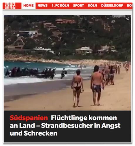 Screenshot der express.de-Startseite - Südspanien - Flüchtlinge kommen an Land, Strandbesucher in Angst und Schrecken