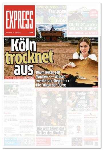 Ausriss der Express-Titelseite - Köln trocknet aus - Kaum Regen seit Wochen - Wiesen werden zur Steppe - Die Folgen der Dürre - Dazu ein Foto der Kölner Bastei sowie dem Rasen vor der Bastei