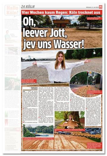 Ausriss Express- Oh, leever Jott, jev uns Wasser! Dazu erneut das Foto der Kölner Bastei sowie dem Rasen vor der Bastei
