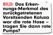 Ausriss Bild-Zeitung - Das Erkennungs-Merkmal des zurückgetretenen Vorsitzenden Kaluza war die rote Hose. Tragen Sie dann rote Pumps?