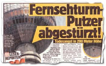 """Fernsehturm-Putzer abgestürzt!"""