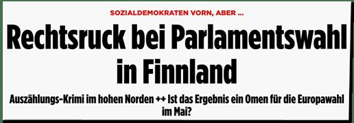 Screenshot Bild.de - Sozialdemokraten vorn, aber ... Rechtsruck bei Parlamentswahl in Finnland - Auszählungs-Krimi im hohen Norden - Ist das Ergebnis ein Omen für die Europawahl im Mai?