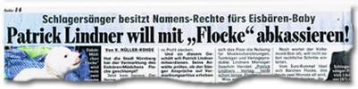 """""""Schlagersänger besitzt Namens-Recht fürs Eisbären-Baby -- Patrick Lindner will mit Flocke abkassieren!"""""""