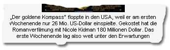 """""""Der goldene Kompass"""" floppte in den USA, weil er am ersten Wochenende nur 26 Mio. US-Dollar einspielte. Gekostet hat die Romanverfilmung mit Nicole Kidman 180 Millionen Dollar. Das erste Wochenende lag also weit unter den Erwartungen"""
