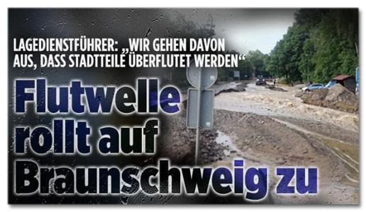 Ausriss Bild.de - Lagedienstführer: Wir gehen davon aus, dass Stadtteile überflutet werden - Flutwelle rollt auf Braunschweig zu