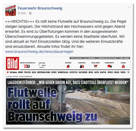 Ausriss Facebook-Post der Feuerwehr Braunschweig +++WICHTIG+++ Es rollt keine Flutwelle auf Braunschweig zu. Die Pegel steigen langsam. Der Höchststand des Hochwassers wird gegen Abend erwartet. Es wird zu Überflutungen kommen in den ausgewiesenen Überschwemmungsgebieten. Es werden keine Stadtteile überflutet. Wir sind aktuell an fünf Einsatzstellen tätig. Und die weiteren Einsatzkräfte sind einsatzbereit.