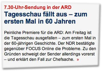 7.30-Uhr-Sendung in der ARD: Tagesschau fällt aus – zum ersten Mal in 60 Jahren. Peinliche Premiere für die ARD: Am Freitag ist die Tagesschau ausgefallen – zum ersten Mal in der 60-jährigen Geschichte.