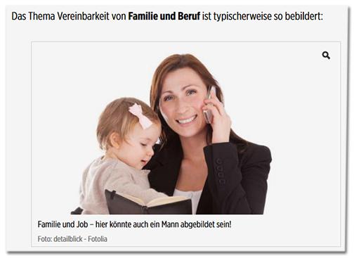 Das Thema Vereinbarkeit von Familie und Beruf ist typischerweise so bebildert: [Auf dem Foto hält eine Frau im Hosenanzug mit dem einen Arm ihr Kind, in der anderen Hand ein Handy]