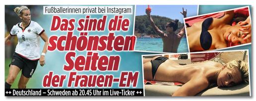 Ausriss von Bild.de - Fußballerinnen privat bei Instagram - Das sind die schönsten Seiten der Frauen-EM